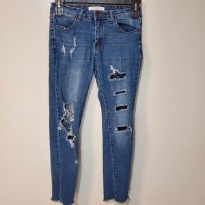 Encore Jeans Distressed Crop Ankle Released Hem